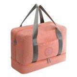 Waterproof Large Capacity Double Layer Beach Bag Portable Sports Bags Cube Bags Travel Bags (Orange Powder)