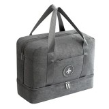 Waterproof Large Capacity Double Layer Beach Bag Portable Sports Bags Cube Bags Travel Bags (Gray)