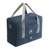 Waterproof Large Capacity Double Layer Beach Bag Portable Sports Bags Cube Bags Travel Bags (Navy Blue)