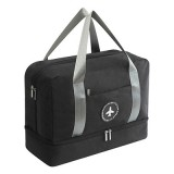 Waterproof Large Capacity Double Layer Beach Bag Portable Sports Bags Cube Bags Travel Bags (Black)