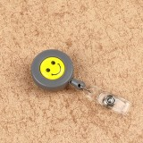 2 PCS ID Easy-to-pull Buckle Smiling Face Holder Name Tag Card Key Badge Retractable Holder Belt Clips (Gray)