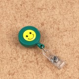 2 PCS ID Easy-to-pull Buckle Smiling Face Holder Name Tag Card Key Badge Retractable Holder Belt Clips (Green)
