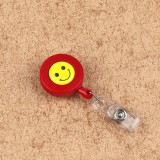 2 PCS ID Easy-to-pull Buckle Smiling Face Holder Name Tag Card Key Badge Retractable Holder Belt Clips (Red)