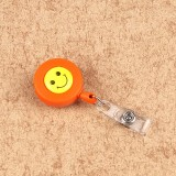 2 PCS ID Easy-to-pull Buckle Smiling Face Holder Name Tag Card Key Badge Retractable Holder Belt Clips (Orange)
