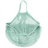 2 PCS Mesh Shopping Bag Reusable String Fruit Storage Handbag Totes Women Shopping Mesh Net Woven Bag Shop Grocery Tote Bag (Mintcream)
