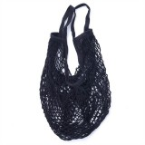 2 PCS Mesh Shopping Bag Reusable String Fruit Storage Handbag Totes Women Shopping Mesh Net Woven Bag Shop Grocery Tote Bag (Black)