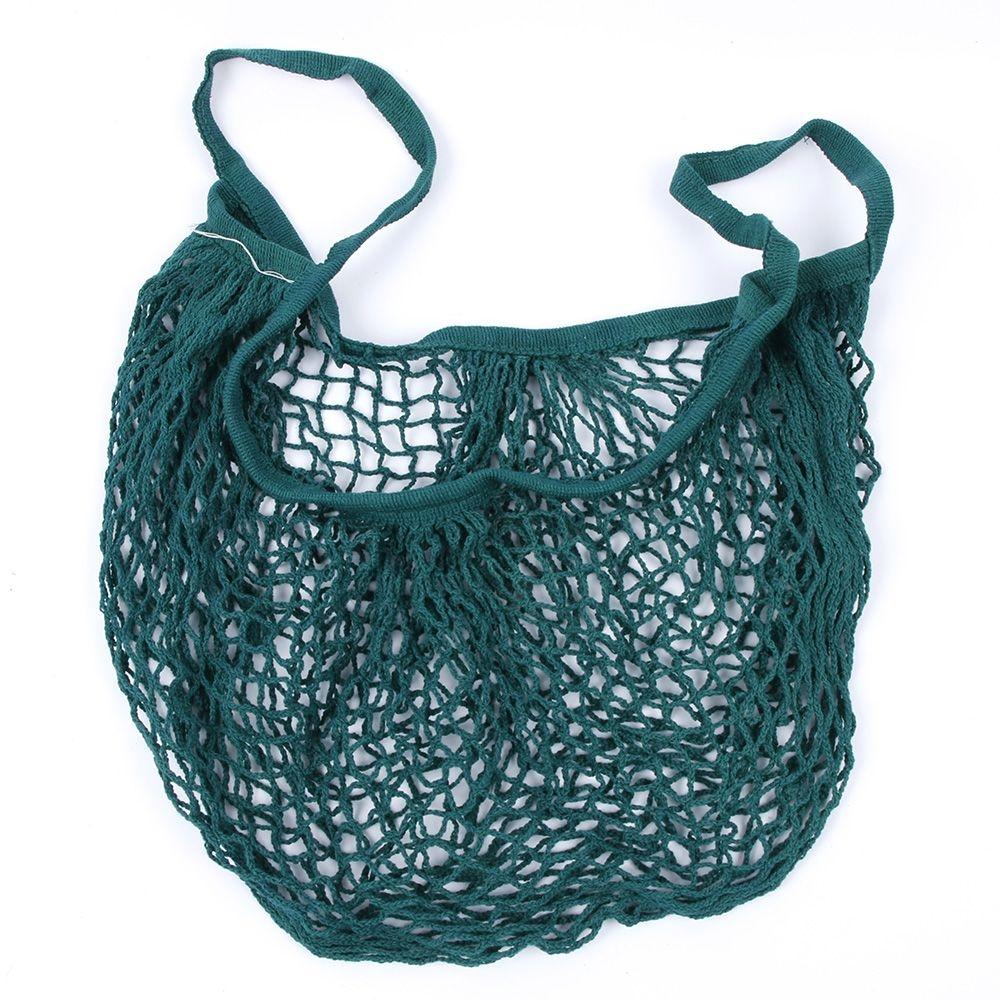 2 PCS Mesh Shopping Bag Reusable String Fruit Storage Handbag Totes Women Shopping Mesh Net Woven Bag Shop Grocery Tote Bag (Beige)