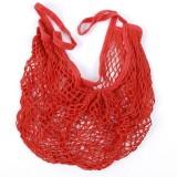 2 PCS Mesh Shopping Bag Reusable String Fruit Storage Handbag Totes Women Shopping Mesh Net Woven Bag Shop Grocery Tote Bag (Red)