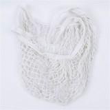 2 PCS Mesh Shopping Bag Reusable String Fruit Storage Handbag Totes Women Shopping Mesh Net Woven Bag Shop Grocery Tote Bag (White)