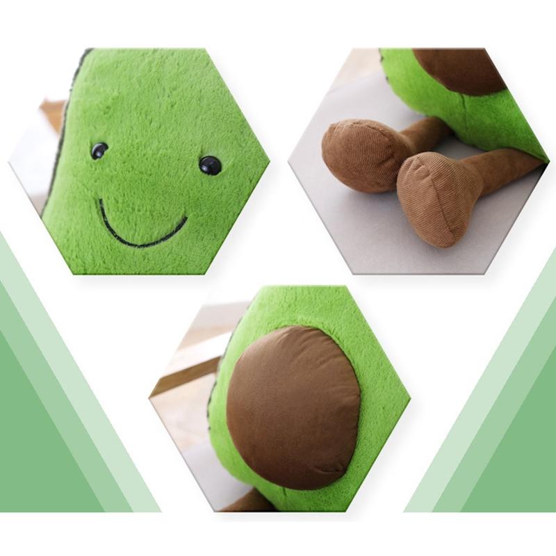 Cute Cartoon Avocado Plush Pillow Toy 22~45Cm Avocado With Feet Children Fruit Avocado Stuffed Plush Pillow Toy Gift for Child (C-45cm)