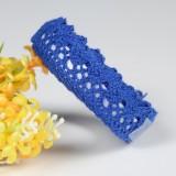 5 PCS Cotton Lace Fabric White Crochet Lace Roll Ribbon Knit Adhesive Tape Sticker Craft Decoration Stationery Supplies (Dark Blue)