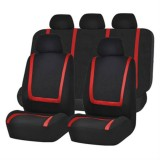 Universal Car Seat Cover Polyester Fabric Automobile Seat Covers Car Seat Cover Vehicle Seat Protector Interior Accessories 9pcs Set Red