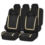Universal Car Seat Cover Polyester Fabric Automobile Seat Covers Car Seat Cover Vehicle Seat Protector Interior Accessories 9pcs Set Beige