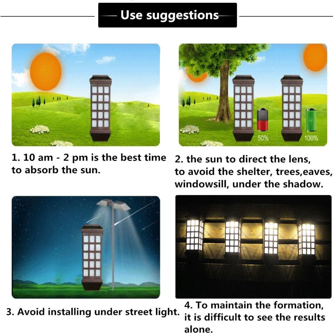Extended Outdoor Solar Wall Lamp IP65 Waterproof Courtyard Garden Villa Wall Fence Stair Light (White Light)