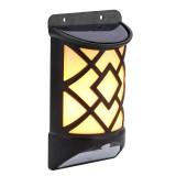 2 PCS 12 LEDs Solar Powered LED Wall Lamp Flame Effect Motion Sensor Courtyard Garden Decoration Light