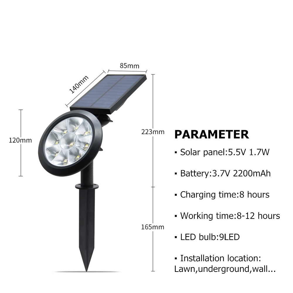 9 LEDs Solar Power Garden Lights LED Outdoor Garden Adjustable IP65 Waterproof Light (Colorful Changing)