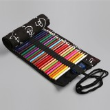 Calligraphy Cute Canvas Roll School Pencil Case Pencilcase Student Pen Bag Stationery Pouch Supplies (12 Holes)