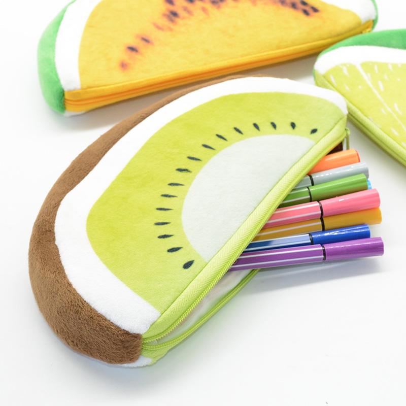 Creative Cute Kawaii Plush Fruits Pencil Case Fruit Pencil Bag (Dragon fruit)