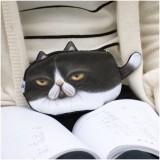 Kawaii Cats Zipper Pencils Bags Cute 3D Plush Pencils Case Large Capacity School Supplies Stationery Pen Box (Long Black Tail)