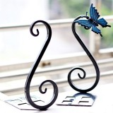 1 Pair Metal Bookends Home Office School Book Craft Creative Vintage Butterfly Decoration (Black)
