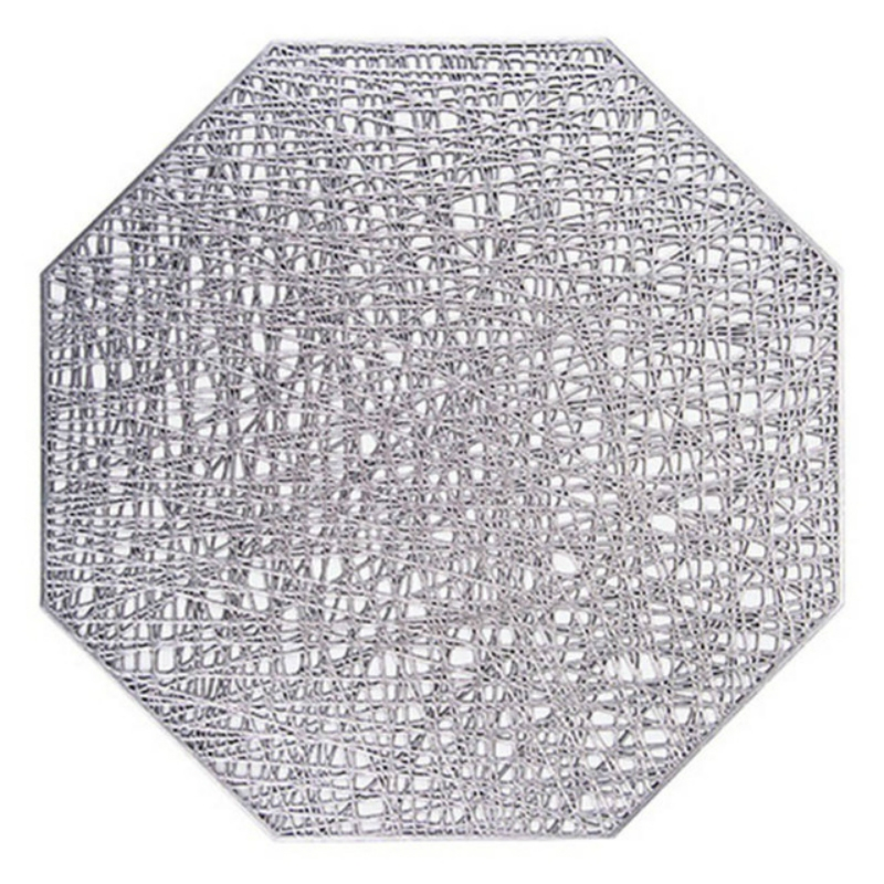 Pastoral Octagonal PVC Insulated Placemat Creative Hollow Placemat Household Table Decoration (Silver)