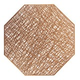 Pastoral Octagonal PVC Insulated Placemat Creative Hollow Placemat Household Table Decoration (Bronze)