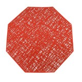 Pastoral Octagonal PVC Insulated Placemat Creative Hollow Placemat Household Table Decoration (Red)