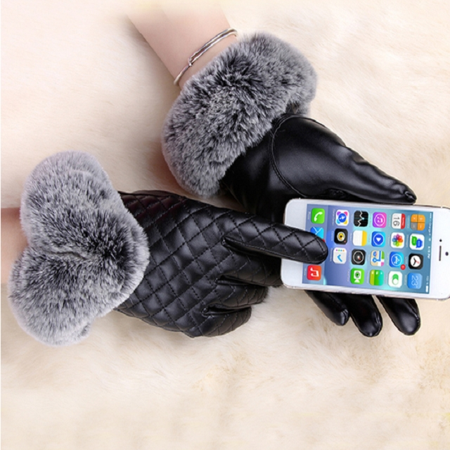 Women PU Leather Gloves Imitated Rabbit Fur Thick Warm Winter and Autumn Female Gloves (Black)