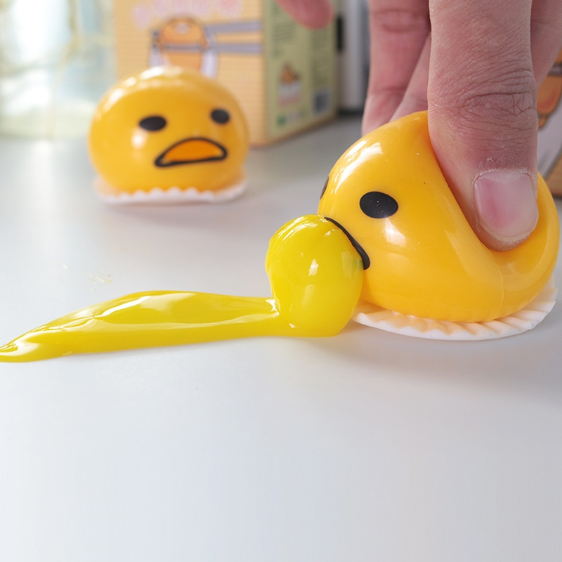 3 PCS Squishy Vomitive Egg Yolk Hand Anti Stress Reliever Fun Gift Yellow Lazy Egg Joke Toy Ball Egg Squeeze Novelty Gag Toys (yellow)