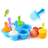 Silicone Mini Ice Pops Mold Ice Cream Ball Lolly Maker Popsicle Molds Baby DIY Food Supplement Tool (Blue)