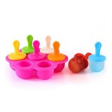 Silicone Mini Ice Pops Mold Ice Cream Ball Lolly Maker Popsicle Molds Baby DIY Food Supplement Tool (Hot Pink)
