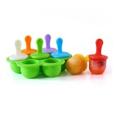 Silicone Mini Ice Pops Mold Ice Cream Ball Lolly Maker Popsicle Molds Baby DIY Food Supplement Tool (Green)