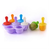 Silicone Mini Ice Pops Mold Ice Cream Ball Lolly Maker Popsicle Molds Baby DIY Food Supplement Tool (Light Purple)