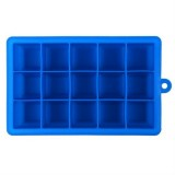 15 Grids DIY Big Ice Cube Mold Square Shape Silicone Ice Tray Fruit Ice Cream Maker (Dark Blue)