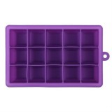 15 Grids DIY Big Ice Cube Mold Square Shape Silicone Ice Tray Fruit Ice Cream Maker (Purple)