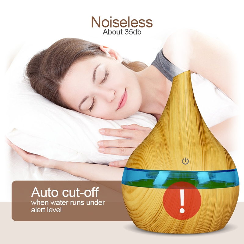 2 PCS 300ml USB Electric Aroma air diffuser wood Ultrasonic air humidifier Essential oil Aromatherapy Cool Mist Maker (Oblique Mouth Light Wood Grain)