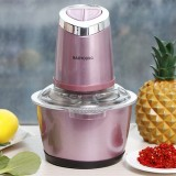 Dual-gear Electric Kitchen Meat Grinder Chopper Food Chopper Stainless Steel Kitchen Tools (Pink)