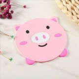 4 PCS Cartoon Coffee Silicone Cup Mat Placemat Drink Coaster Kitchen Table Pad (Pink)