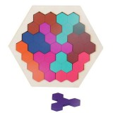 Kids 3D Wooden Puzzles Toy Children Geometry Tangrams Honeycomb Puzzles IQ Brain Training Educational Toys 10 PCS
