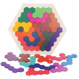 Kids 3D Wooden Puzzles Toy Children Geometry Tangrams Honeycomb Puzzles IQ Brain Training Educational Toys 14 PCS
