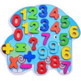 Children Puzzle Toys Nursery Cartoon Hand Grab Board Wooden Plywood Jigsaw Puzzle for Children Digital Alphabet Cognition (Number)