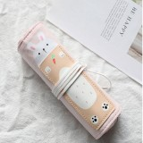 Cat Pattern Pencil Case School Pencil Case Canvas Roll Up Pencil Bag Portable Pencil Box School Supplies (Radish Rabbit)
