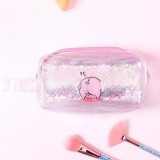 2 PCS Cute PVC Pig Pattern Pencil Case Colorful Transparent Quicksand Girl Pen Bag Creative Stationery School Supplies (Silver Cute Pig)