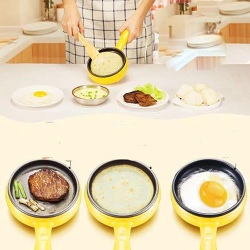Multifunction Mini Non-Stick Frying Pan Boiler Steamer Cooker Poached Eggpot (Yellow single frying pan + wooden shovel)