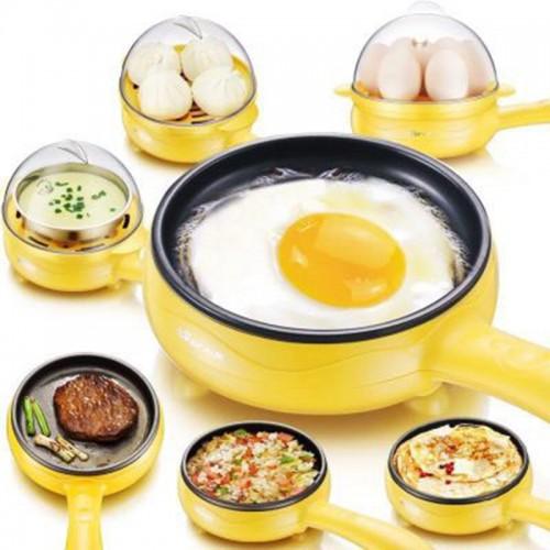 Multifunction Mini Non-Stick Frying Pan Boiler Steamer Cooker Poached Eggpot (Pink single frying pan + wooden shovel)