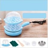 Multifunction Mini Non-Stick Frying Pan Boiler Steamer Cooker Poached Eggpot (Blue single layer packagege)