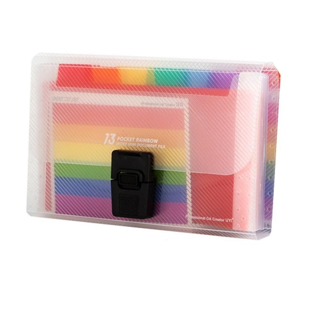 13 Grid Expanding File Folder A6 Document Buckle Lanyard Bag Multicolor Expanding File (Multicolor Buckle)