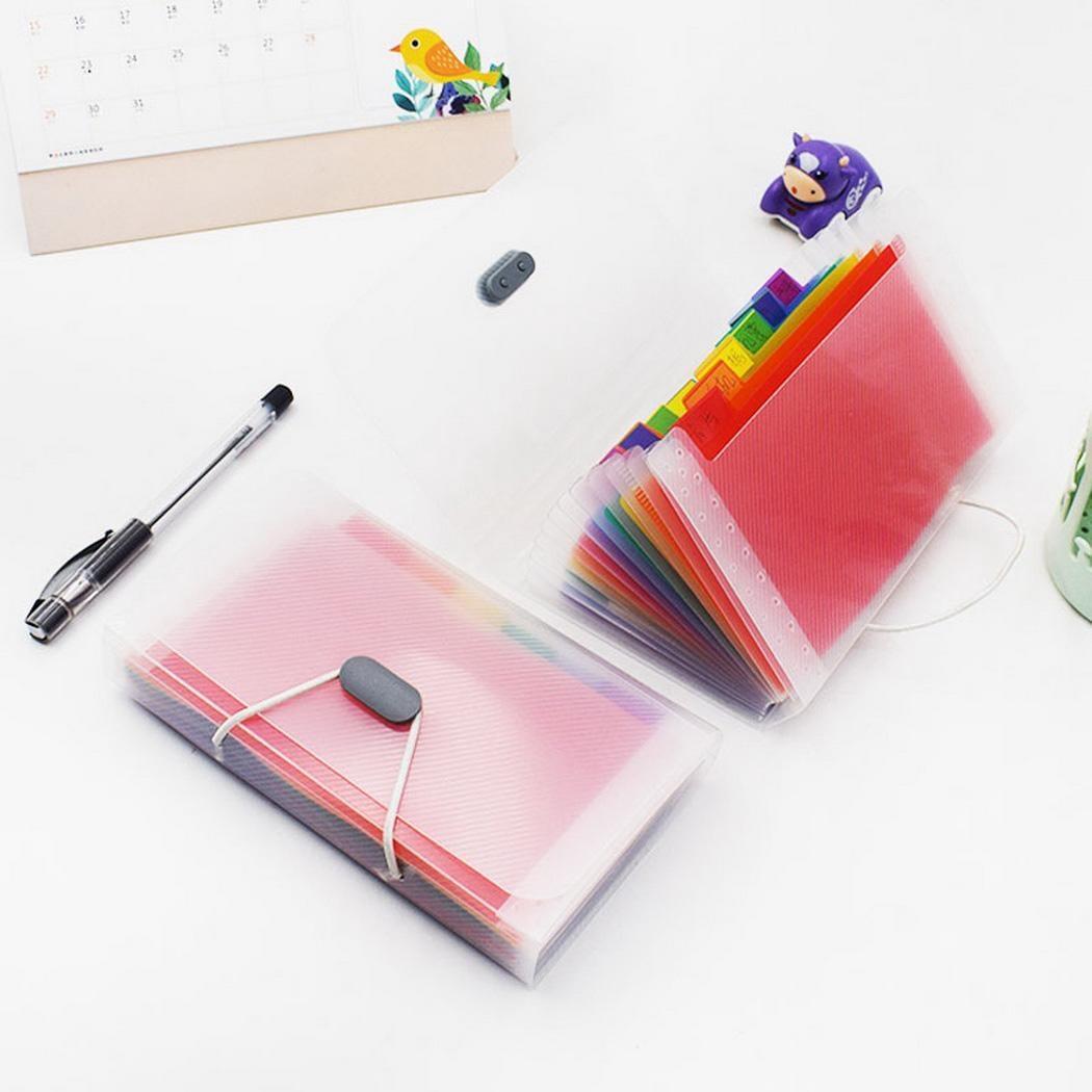 13 Grid Expanding File Folder A6 Document Buckle Lanyard Bag Multicolor Expanding File (Multicolor Buckle)