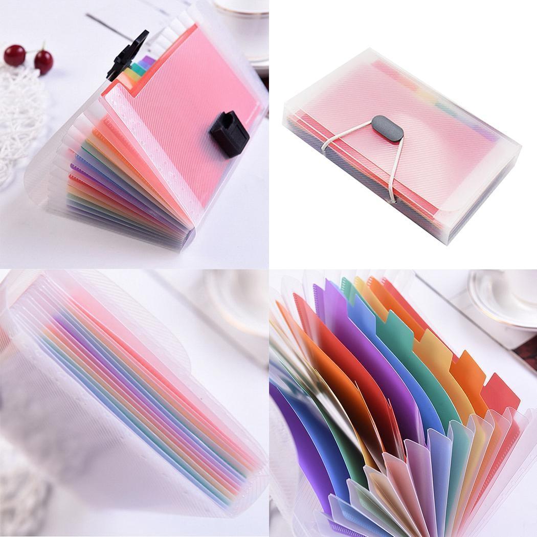 13 Grid Expanding File Folder A6 Document Buckle Lanyard Bag Multicolor Expanding File (Multicolor Lanyard)