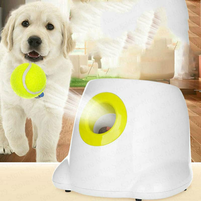 Dog Toy Tennis Automatic Tossing Ball Launcher Pet Training Tossing Ball (White)